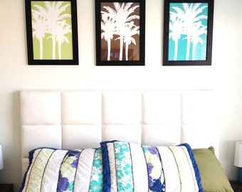 Palm Tree Wall Art Trio - Palm Tree Set of 3 Prints for Tropical Decor - Beach Bedroom Decor Beach Bedroom Art - CHOOSE YOUR COLORS
