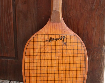 Vintage WOODEN PADDLE- Sportcraft Paddle Tennis Official Paddle- Game Racquet- Sports Decor- Man Cave- H17