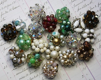 Vintage Earring Lot- Earring Bobs- Clip on Earrings- Repurposed Jewelry- Earring Singles
