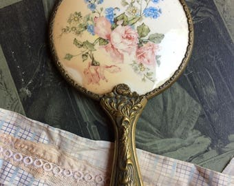 Vintage HAND MIRROR with Porcelain Back- Floral Design- Decorative Brass Handle- Antique Vanity Mirror