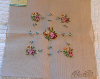 "BUCILLA PASTEL ROSES Preworked 1950s Canvas to Finish, Wool Stitched Pink Yellow Blooms Green Leaves, Chair or Pillow Cover, 20"" sq 29420"
