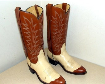Vintage Acme Cowboy Boots with wingtips size 6 A - cream and tan brown color