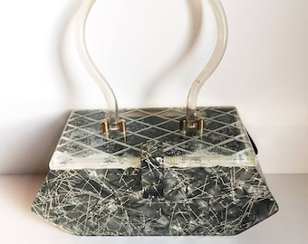 Vintage silver confetti box purse mid-century with diamond cut lucite lid and clear lucite handle, Imperfections Damaged Lid