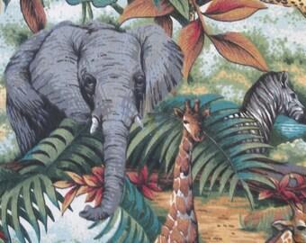 "100% Cotton Print 45"" wide Springs Jungle Animals Elephants Lions Leopards Giraffes Zebras Birds (Sold By The Yard)"