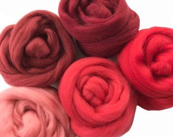 Merino Sampler Pack, Red and Cranberry tones, wool for spinning or felting, 4 ounces +.