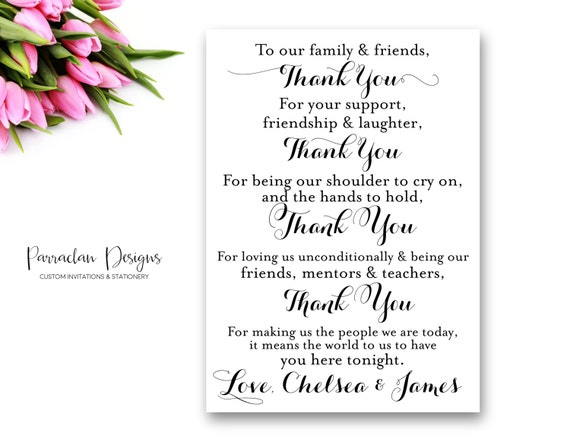 Thank You Wedding Sign | Wedding Thank You Cards | Table Top Thank You Cards | To Our Family and Friends Wedding Cards {FS02}