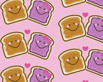 Valentine's Day Fabric - I Love You More Than Cookies By Mariafaithgarcia - Peanut Butter & Jelly Cotton Fabric By The Yard With Spoonflower