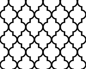Quatrefoil Fabric - Classic White And Black Quatrefoil By Willowlanetextiles - Quatrefoil Cotton Fabric By The Yard With Spoonflower