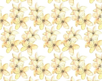 Peach Tropical Buds Fabric - Tropical Trio By Ellas_Place - Yellow Beach Floral Cotton Fabric By The Yard With Spoonflower