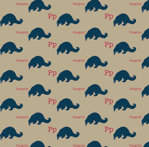 Kids alphabet fabric p is for pangolin by maile modern for Modern kids fabric