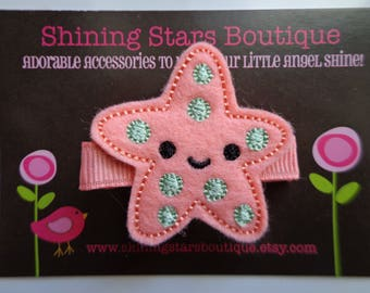 Hair Accessories - Felt Hair Clip - Coral And Mint Green Summer Starfish Boutique Embroidered Hair Clippie - Under The Sea Or Ocean