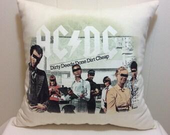 Decorative Pillow, Throw Pillow, Accent Pillow, Sofa Pillow, Couch Pillow, Bed Pillow, Ivory Pillow, Gift For Him, Gift Idea, AC/DC
