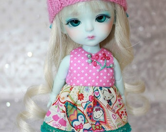 SALE - LATI Yellow PukiFee - Hello Kitty Series - Paisley - DRESS - Hot Pink Dotted - Teal