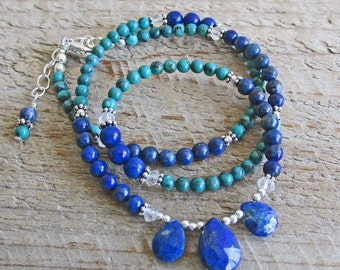 Blue Lapis Pendant Turquoise Clear Quartz Healing Gemstone Necklace, Gift for Her