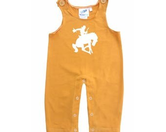 Baby and Toddler Overalls-Bucking Cowboy