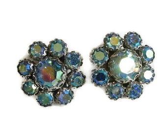 Weiss Earrings Blue Aurora Borealis Rhinestones Vintage