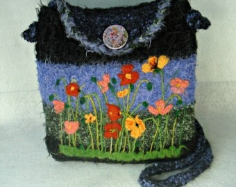 Felted Alpaca Purse,Felted Handbag, Alpaca Purse, Flower Art, Needle Felt Flower