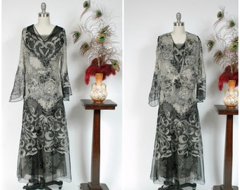 Vintage 1930s Dress - Rare Three Piece Ivory and Black Net Detailed Floral Print Silk Chiffon 30s Dress with Amazing Sleeves and Layering