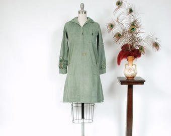 SALE - Vintage 1920s Dress - Rare 20s Girl Scouts Uniform of Green Cotton Twill with Many Merit Badges