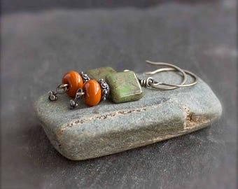ON SALE Green Orange Earrings - Olive Green, Rust Orange, Sterling Silver Boho Jewelry