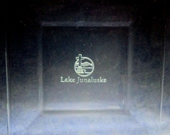 Custom Hand Etched eight inch square glass plate