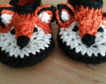 Cute Crochet Fox Slippers In Baby Size 3-6 Months.  Ready to Ship.  Custom Orders Available Any Size and Color.