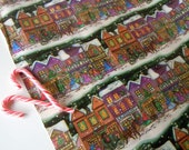 Vintage 1990's Christmas Village Wrapping Paper Roll | Winter Town Scene Gift Wrap Roll