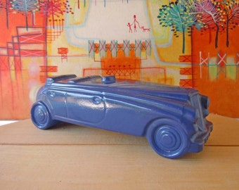 Vintage 1970's Blue Roadster Car Glass Avon Bottle Perfume Bottle Empty Automobile Decanter Deep Woods Aftershave