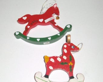 Blow Out Sale Vintage Wood Christmas Ornaments - Reindeer Ornament - Rocking Horse Ornament - Wood Ornaments - Holiday Ornaments - Horse Orn