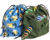Reusable bag, drawstring bag, all purpose bag, gift bag, lunch pouch, school kindergarten lego cotton green rollerblades sports blue minions