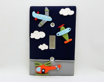 Airplane and Helicopter Light Switch or Outlet Cover - Airplane Nursery - Children's Aviation Room Decor - Toggle or Rocker Decora Cover
