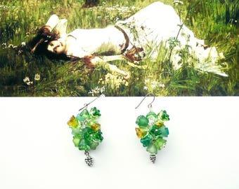 FOREST Earrings, Long Green Earrings, Bridal Dangles, Cottage Chic Dangles, Cluster Earrings, Long Art Nouveau Earrings
