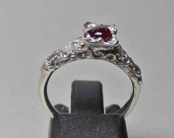 Medieval to Renaissance style ruby cab ring size 6 1/2