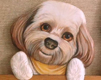 CUSTOM PET PORTRAITS - Hand Carved and Hand Painted Wood - Door Toppers. Window Sill Sitters or rest anywhere