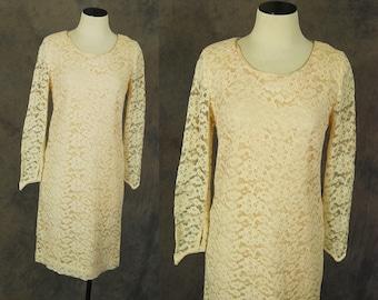 vintage 60s Dress - 1960s Peach Lace Shift Dress  Sz M