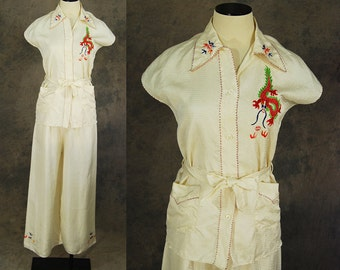 vintage 30s 40s Asian Pajamas - White Embroidered Silk Shirt and Palazzo Pants 1940s Lounge Wear Sz S