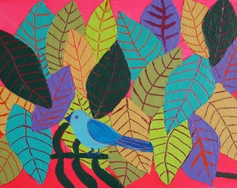 Bird with Leaves