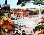 Reserved for Laura. Artist Aldo Raimondi Vintage Fine Print Picture Roma Piazza del Popolo Italy - Dal Pincio Unique Water Color Rare