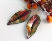 Vibrant Colorful Long Dangle Earrings, Glowing Copper Enamel Art Earrings, Vitreous Enamels Art Jewelry, One of a Kind WillOaks Artisan Made