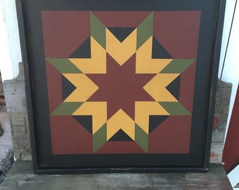 PRiMiTiVe Hand-Painted Barn Quilt - 3' x 3' Harvest Star Pattern (Cinder and Saffron Version)