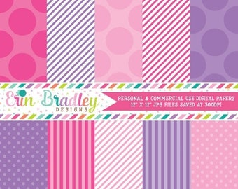 50% OFF SALE Digital Paper Pack Personal and Commercial Use Pink and Purple Polka Dots and Stripes