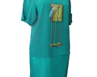 New Old Stock ARGENTI Emerald Green bright bold pure silk two piece dress - outfit sz. 8