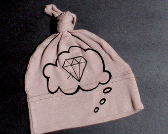 knotted baby hat organic cotton diamond baby thought purple with white ink screen printed bling baby dreaming