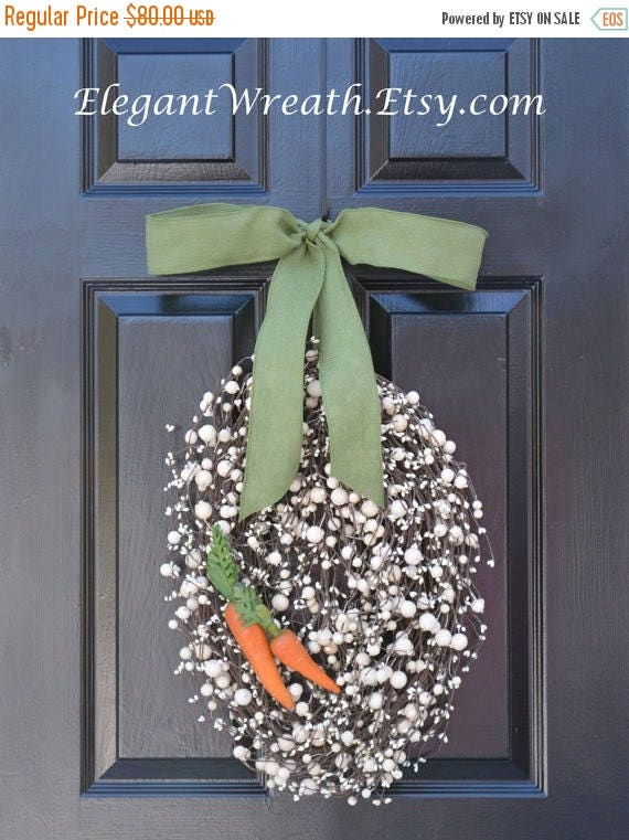 SPRING WREATH SALE Easter Egg Wreath- Easter Wreath with Carrots- Easter Decoration- Easter Decor- Monogram Wreath- Spring Wreath