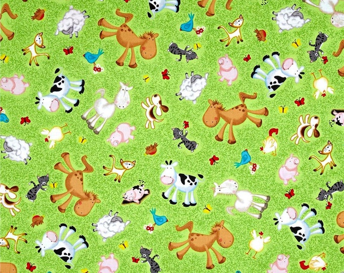 ANIMAL FARM FABRIC, Children's Fabric, Animal Farm Cotton Fabric by Victoria Hutto for Quilting Treasures 44 inches wide
