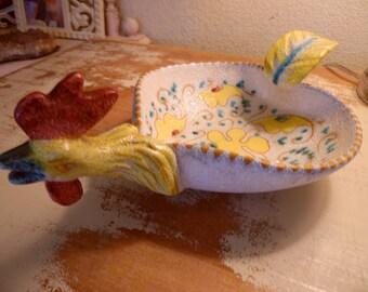 Vintage Italian Chicken Bowl handpainted