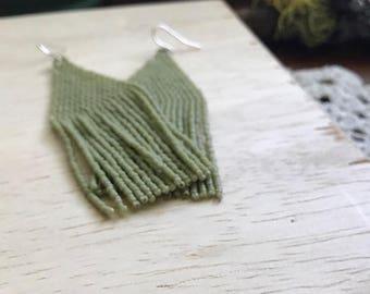 Original Handmadewarrior Simple Summer Series Monochrome Bead Earrings Sage Green