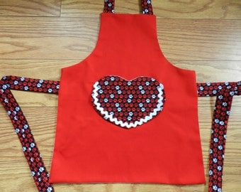 FREE SHIPPING, Childs Apron, Paint Apron, Cooking Apron, Kids Apron, Dog Paw Print Apron, Red Apron, Heart Apron, Paw Print,  Girls Apron,