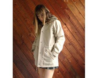 Hooded Fur Lined Rain Coat Jacket - Vintage 80s - SMALL