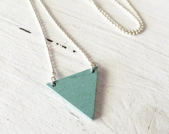 Minimal Triangle Necklace, Silver Gold Chain, Layering Necklace, Ball Chain